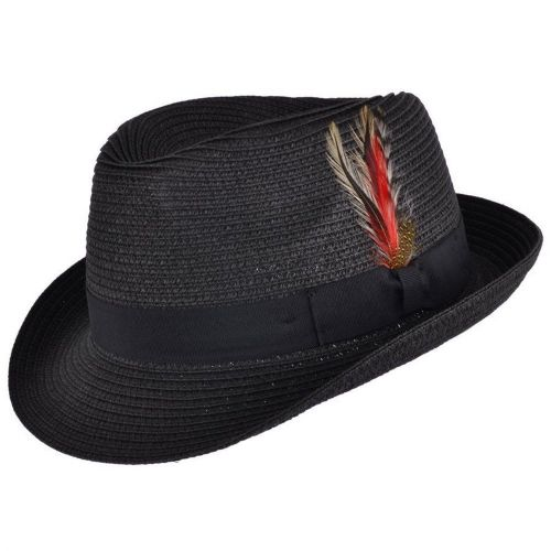Straw Trilby Hat with Removable Feather - Black